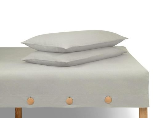 LINA 100% linen fitted button sheet and pillow cases set - set 1 - Grigio color