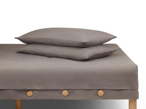 LINA 100% linen fitted button sheet, top sheet with 2 boxed corners and pillow cases set - set 2 - Ferra color