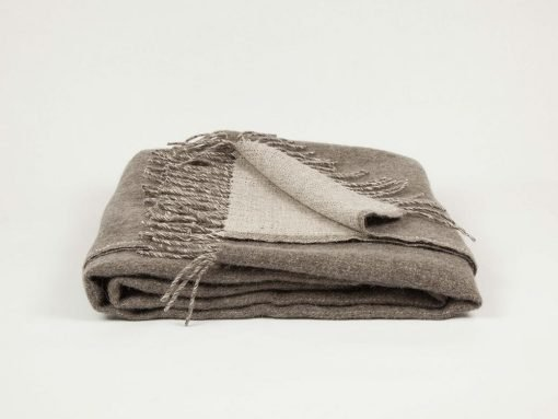 Blix throw with natural fibres, linen and merino wool, Mushroom color