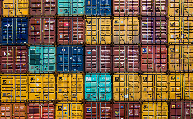 pile of truck containers