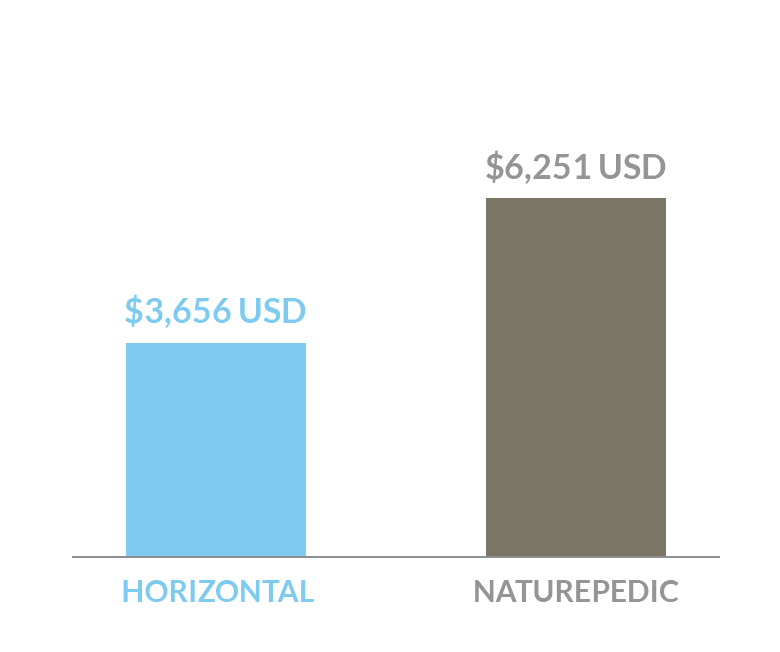 cost comparison of Horizontal bed versus a Naturepedic bed in US dollars