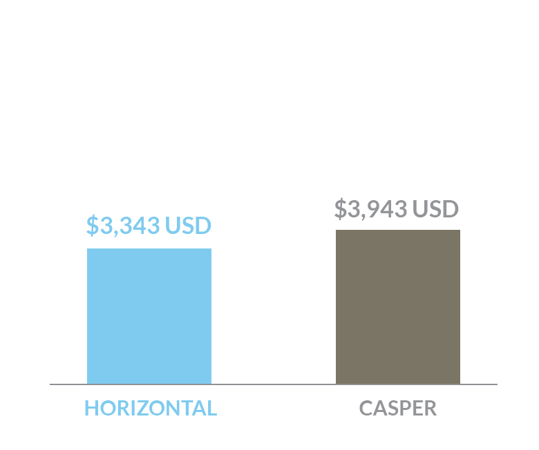 cost comparison of Horizontal bed versus a Casper bed in US dollars