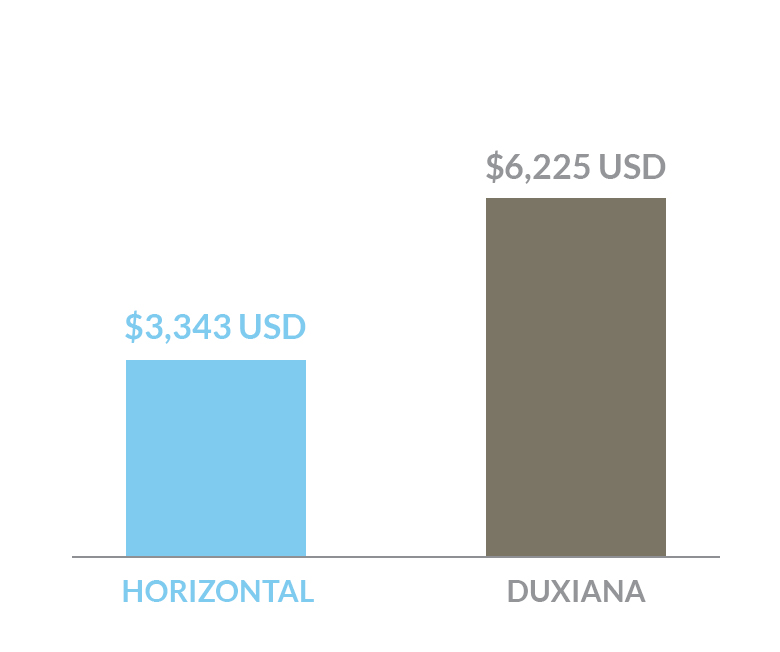 cost comparison of Horizontal bed versus a Duxiana bed in US dollars